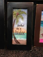 Another day in paradise sign tropical beach palm tree sunset framed print 8 x 15