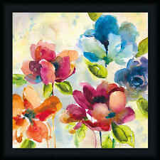 Color My World II 20x20 Vibrant Colorful Contemporary Floral Art Print Framed