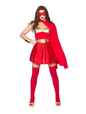 Red Gold Ladies Fancy Dress Comic Book Hot Super Hero Adult Womens Costume
