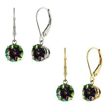 10k White or Yellow Gold 8mm Round Mystic Topaz Leverback Dangle Earrings
