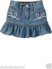 Old Navy Baby Girl Embroidered Pocket Denim Skirt, Light Wash, Size18-24 Mos.NWT