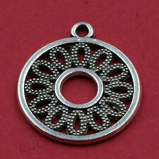 10/50pcs Tibetan Silver Hollow Flower Round Charm Pendant Jewelry Making 21X21MM