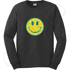 Men's Long Sleeve Shirt Peace Smiley Face Cool Happy World Emoticon Tee - 1002C
