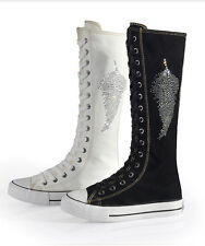 Womens Canvas Maple Leaf Flat Sneakers Lace Up Knee High Boots