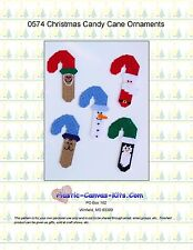 Christmas Candy Cane Ornaments-Reindeer-Santa-Plastic Canvas Pattern or Kit