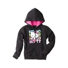 NWT Hello Kitty Little Girl's Black Sparkly Zip-Up Hoodie - Sizes 4-6X
