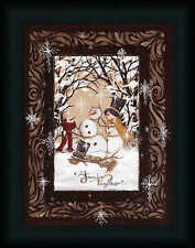 Family Together 16x12 Country Folk Art Primitive Snowman Framed Art Picture