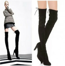 Womens High Heel Over Thigh Knee High Boot Suede Leather Slouch Shoes Plus Sz