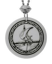 Handmade Whooping Crane Totem Round Shaped Porcelain Chain Pendant