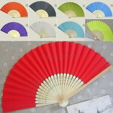 Hot Summer Solid Folding Hand Held Paper Fans Bright Colored Pocket Bamboo Fan