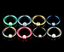 Captive Bead Ring Anodized Colour BCR With Gem Hoop Eyebrow Lip Nipple 16g 8mm