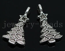 New 10/40/240pcs Antique Silver Beautiful Christmas tree Charms Pendant 21x11mm