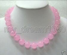 Natural 8MM-14MM Pink Chalcedony Round Beads Gemstones Necklace 18''