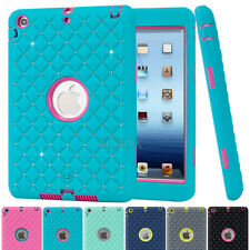 Rugged Bling Crystals Heavy Duty Rubber Shockproof Hard Case Cover For iPad mini