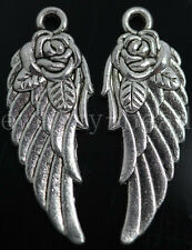 New 6/30/150pcs Antique Silver Rose Wings Alloy Jewelry Charms Pendant 32x12mm