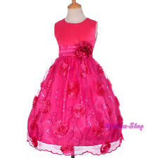 Hot Pink Sequins Scalloped Pageant Dress Wedding Flower Girl Party Sz 4-10 FG287