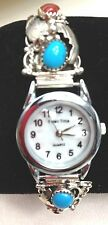 Sterling Silver Ladies Watch tip turquoise coral  leaf watch with new battery RB