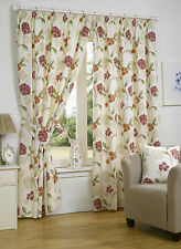"Floral Bouquet Fully Lined Pencil Pleat Curtains 3"" Tape Top Ready Made Panels"