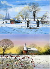 SUSSEX & KENT WINTER SCENES GREETINGS CARDS 8 Different - Oast Houses Barns Snow