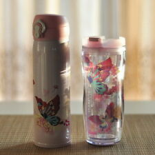 STARBUCKS PINK BUTTERFLY TRAVEL MUG TUMBLER STAINLESS STEEL 473ML /PLASTIC 355ML