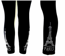 PLUS SIZE LEGGINGS CRYSTAL CLEAR RHINESTONE EMBELLISHED PARIS EIFFEL TOWER