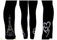 PLUS SIZE LEGGINGS CRYSTAL CLEAR RHINESTONE EMBELLISHED LOVE PARIS EIFFEL TOWER