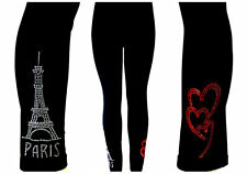 REGULAR SIZE LEGGINGS CLEAR CRYSTAL RHINESTONE PARIS EIFFEL TOWER RED HEARTS