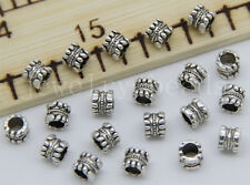 New 30/100/500pcs Antique Silver Cylinder Beads Jewelry Charm Spacer Beads 5x5mm