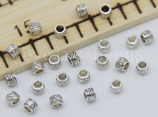 New 40/200/1000pcs Antique Silver cylindrical Beads Charms Spacer Beads 4x3mm