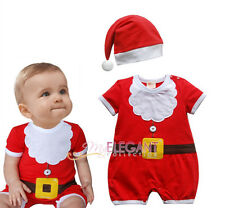 Toddler Kids Boys Girls Children Christmas Santa Claus Costume Dress Outfit Hat