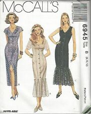 McCalls Sewing Pattern #6945 Semifitted Dress w/ Neckline Variations Choose Size