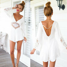 New Women Long Sleeve combinaison White Lace V Neck Jumpsuits Rompers Short Pant