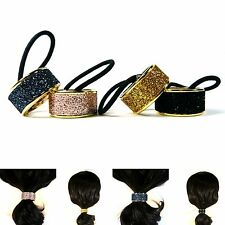 Glitter Ponytail Holder Hair Cuff Wrap Tie Rope Ring Band Accessory Metal Punk