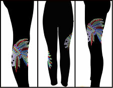 Plus Size Full Length Leggings Embellished Rhinestone Skull Chief With Feathers