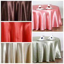 """108"""" Round SATIN Tablecloth Wedding Party Dining Catering Table Supplies SALE"""