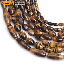 """Natural Faceted Smooth Olivary Yellow Tiger Eye Jewelry Making Beads Strand 15"""""""