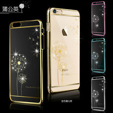 New Luxury Dandelion Clear Crystal Bling Diamond Plating Case Cover For iPhone