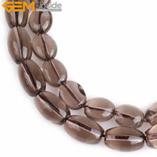"""Natural Gemstone Oval Smoky Quartz Stone Loose Beads For Jewelry Making 15"""""""