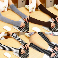 Lady Spring Winter Wrist Arm Hand Warmer Knitted Long Fingerless Gloves Mittens