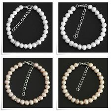 Natural Freshwater Pearl Beads Bracelet Rhinestone 7-8 mm with Clasp