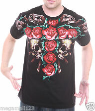 Artful Couture T-Shirt Sz M L XL XXL Tattoo Rose Skull Heavy Metal Biker AB80