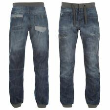 Airwalk Cuffed Jeans Denim Drawstring Comfort Mens Gents