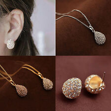 Girl Crystal Rhinestone Pendant Silver/Gold plated Stud Earring Necklace Suits