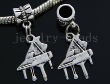 6/30/100pcs Tibetan Silver piano Bulk Lots Dangle Jewelry Craft Charms Bracelet