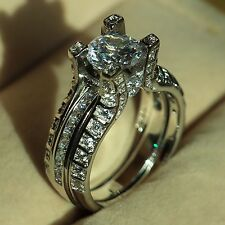 2-in-1 Antique Engagement Band Diamonique Cz White Gold Filled Wedding Ring Set