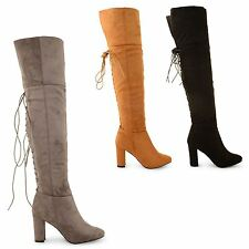 WOMENS LADIES OVER THE CALF LONG LACE UP HIGH HEEL SUEDE KNEE HIGH BOOTS SHOES