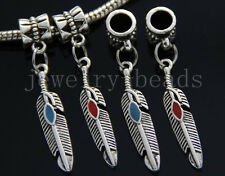 6/30/100pcs Tibetan Silver feather leaves Bulk Lots Dangle Charms Bracelet Craft