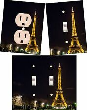 Eiffel Tower night Paris light switch wall plate outlet covers custom room decor