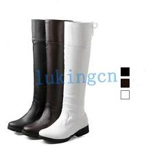 New Womens Low Heeled PU Leather Knee High Lace Up Boots Shoes White Black Brown