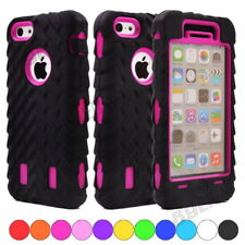 Rugged Black Tyre Tread Soft Silicone PC Hybrid Shockproof Armor Case For iPhone